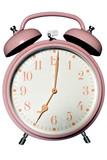 pink alarm clock poster