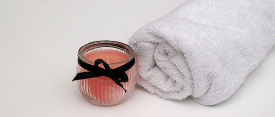 pretty pink bathroom candle