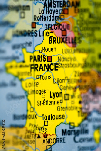 carte de france avec paris capitale mis en valeur
