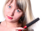 girl with comb poster