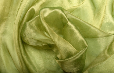 green silk organza