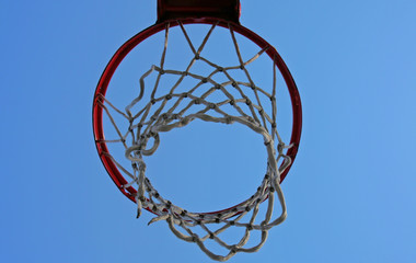 upward view of basketball net