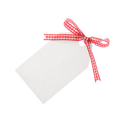 gift tag with red ribbon  (clipping path included)