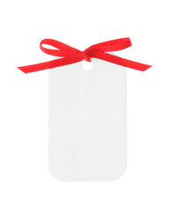 white gift with red ribbon (clipping path included)