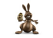 chocolate easter bunny facing, front view, smiling