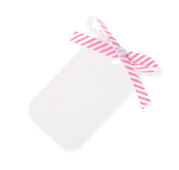 white gift tag with diagonal satin ribbon bow---with clipping pa
