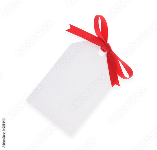 white gift tag with red bow(with clipping path)