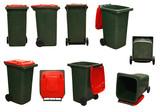 red garbage bins poster