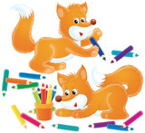 fox with pencils poster
