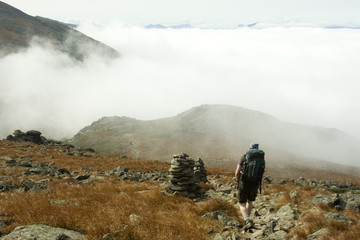 hiking through the clouds