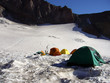 pitched tents at camp muir on mt rainier