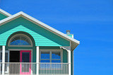mint and pink coastal home poster