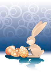 easter rabbit and eggs