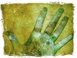 Leinwandbild Motiv hand of chakra energy - green