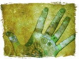 hand of chakra energy - green poster