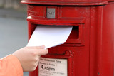 posting letter to red british postbox poster