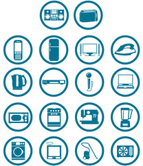 home related electronic apparatus icon set