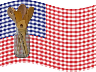 spoons tablecoth flag