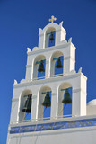 shadow on white wall. a greek orthodox church in o poster