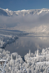 lake bohinj in winter