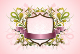 pink shield and decorative elements poster