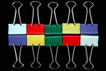 ten colourful bulldog clips