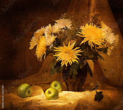still-life with  flowers and apples