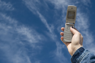 mobile phone, with blue of sky l