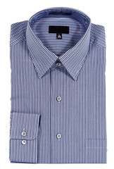 blue pinstriped dress shirt