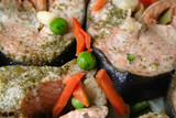 baked salmon with vegetables poster