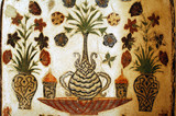 india, agra: old fresco in a mausoleum poster