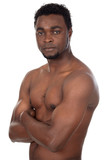 young african boy in defensive attitude poster