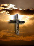 rugged cross with sunshine, clouds, and mountains poster