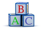 cubes with letters abc poster
