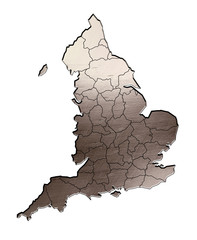 map of england brushed steel