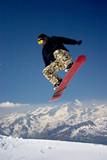 snowboarder in moro desert pants jumping high - winter mountain - Fine Art prints