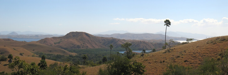 large view of the rinca island and its mountains, komodo archipe
