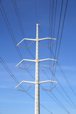 white electricity pylon and power lines poster