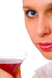 girl with drink poster