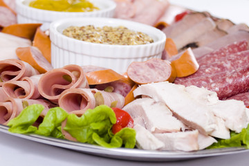 close up cold meat catering platter