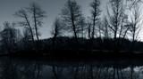 dreamy night river landscape poster
