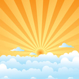 fluffy clouds sun poster