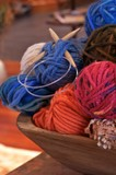 wooden bowl of yarn poster