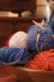 knitting balls of yarn in wooden bowl poster