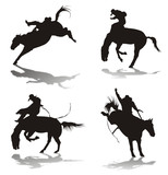 silhouettes of cowboys