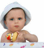 baby with a rubber duck poster
