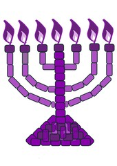 purple menorah - 7 lampstand