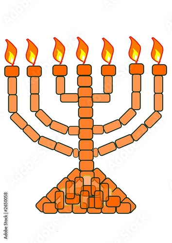orange / gold menorah - 7 lampstand