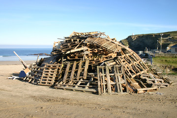 side view of bonfire wood waiting for november 5th