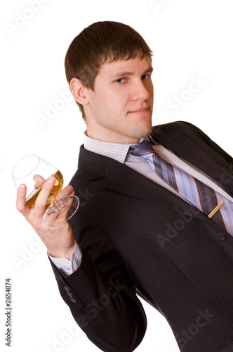 business man with a cognac glass